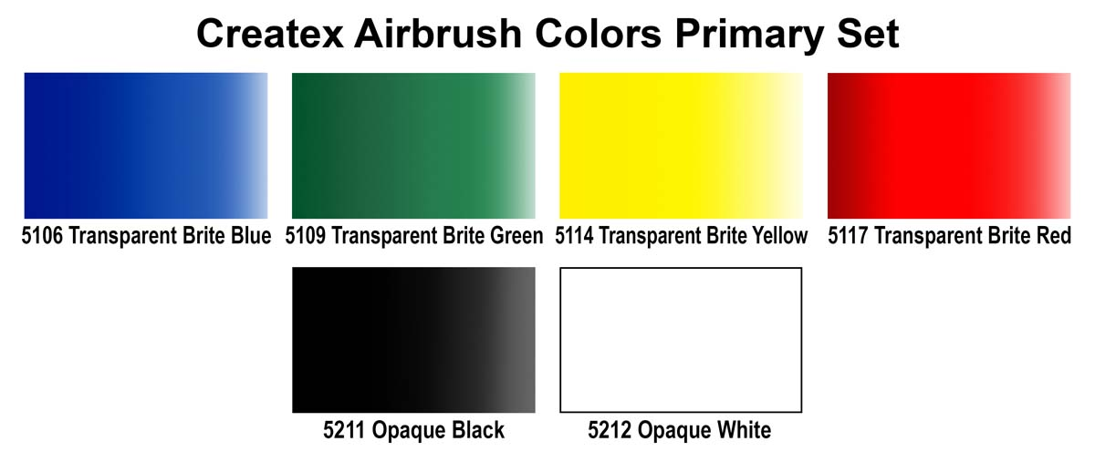 Createx Airbrush Colors Primary Set of 6